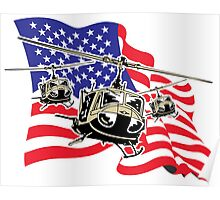 American Flag Helicopters Poster