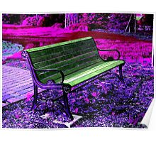 Park Bench in a Purple Pink HSL world  Poster
