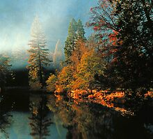 MISTY MORNING MERCED RIVER by Chuck Wickham