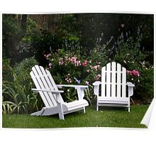 Adirondack Chairs in the Garden Poster