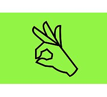Green A-Ok Gesture Photographic Print