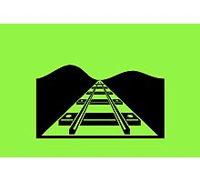 Green Railroad Tracks Photographic Print