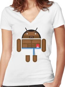 Old Spice Guy BugDroid Women's Fitted V-Neck T-Shirt