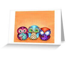 Autumn Owl Trio Greeting Card
