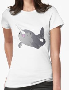 Happy Little Narwhal Womens Fitted T-Shirt