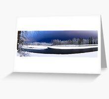 Skykomish River Night Scene Panoramic Greeting Card