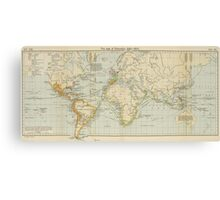Vintage Map of The World (1911) 2 Canvas Print