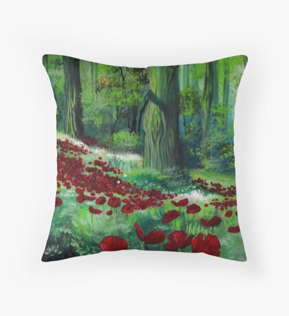 Red Poppies in the Forest Throw Pillow