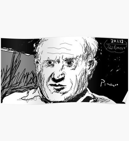 Picasso portrait -(200112)- digital artwork/mouse drawn Poster