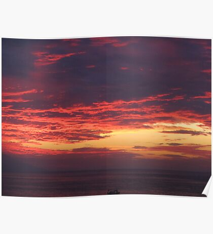 Sunset with Boat - Puesta del Sol con Barco Poster