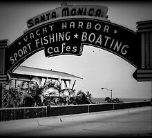 Santa Monica Pier Sign. Series. 2 of 5. Holga Black & White by RickyBarnard