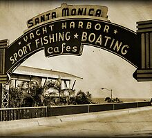 Santa Monica Pier Sign. Series. 4 of 5. Sepia Grunge by RickyBarnard