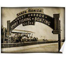 Santa Monica Pier Sign. Series. 4 of 5. Sepia Grunge Poster