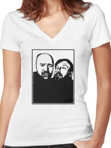 Karl Pilkington and Ricky Gervais Women's Fitted V-Neck T-Shirt