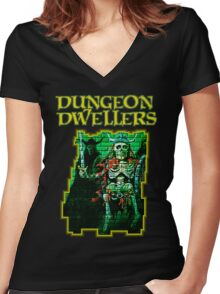 Dungeon Dwellers! Women's Fitted V-Neck T-Shirt