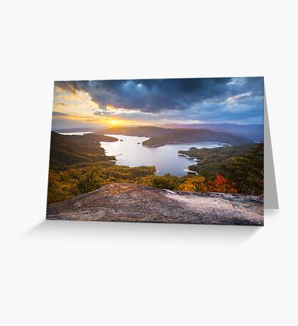 Blue Ridge Mountains Sunset - Jocassee Gold Greeting Card