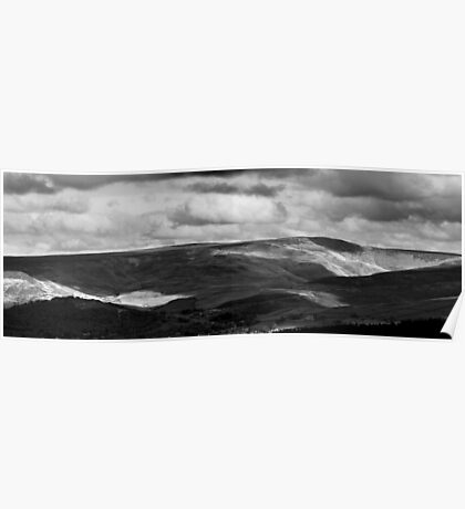 Patchy Sunlight, Bleaklow, Glossop (B&W) Poster