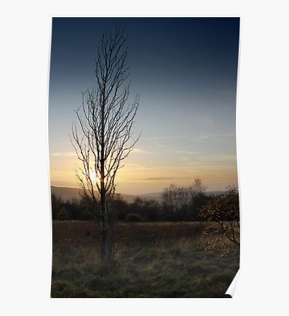 Winter Sunset, Shire Hill, Glossop Poster