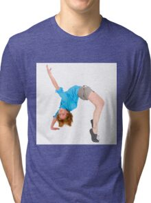 flexible Female acrobat bends over backwards  Tri-blend T-Shirt