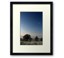 Vapour trail over wispy grass, Shire Hill, Glossop Framed Print