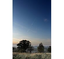 Vapour trail over wispy grass, Shire Hill, Glossop Photographic Print