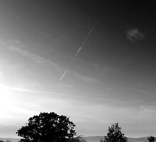 Vapour trail over wispy grass, Shire Hill, Glossop (B&W) by Mark Smitham