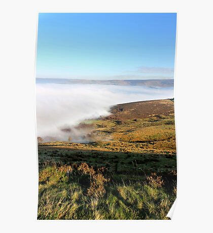 Fog-shrouded Glossop with Bleaklow in the distance Poster
