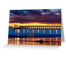Venoco Ellwood Pier,  Bacara (haskell's) beach Goleta  at sunset Greeting Card
