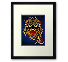 2012 Black 'n Gold Chinese Dragon Face  Framed Print