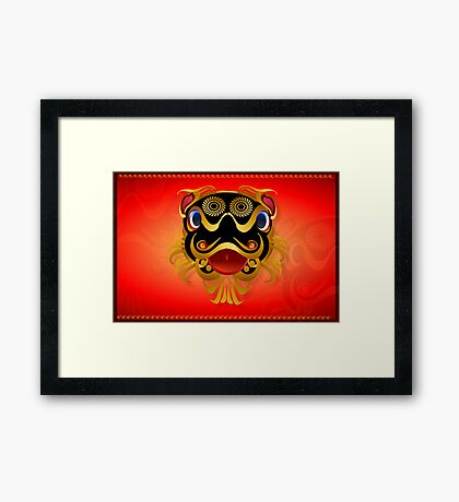 Black 'n Gold Chinese Dragon Face Framed Print