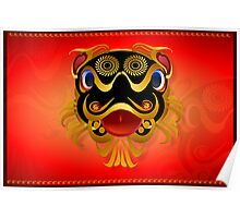 Black 'n Gold Chinese Dragon Face Poster