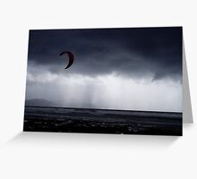 Atlantic storm approaches man with hand glider, Inch Beach Ireland Greeting Card