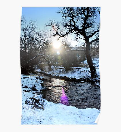 Lens Flare Snowy Brook, Gnat Hole, Glossop Poster