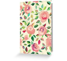 Pastel Roses in Blush Pink and Cream Greeting Card