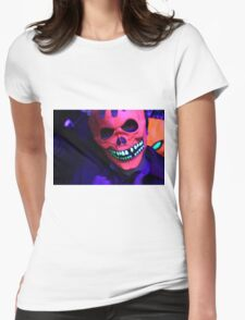 Neon Glowing Mask Notebook Womens Fitted T-Shirt
