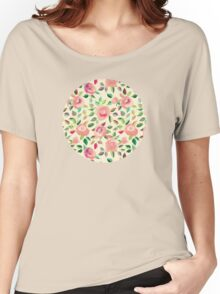 Pastel Roses in Blush Pink and Cream Women's Relaxed Fit T-Shirt