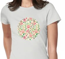 Pastel Roses in Blush Pink and Cream Womens Fitted T-Shirt