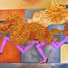 Golden Dragon with Pink Legs by Kos Cos