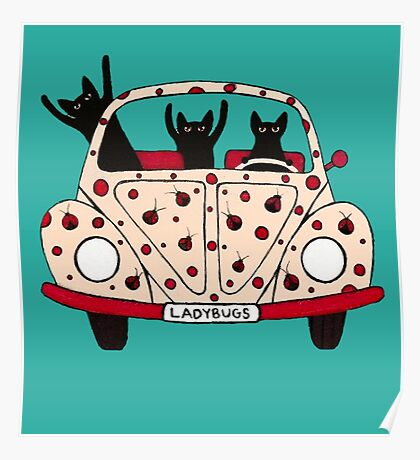 Driving Cats Poster