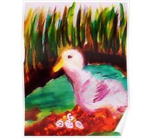 Nesting Duck, watercolor Poster