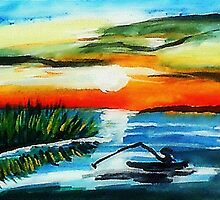 Fishing in the Reeds #2, watercolor by Anna  Lewis