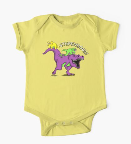 Stupendous!   Funny 90s Pop Culture Barney and Friends Dinosaur One Piece - Short Sleeve