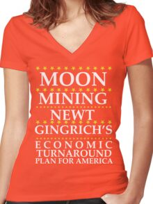 Newt Gingrich - Moon Mining Women's Fitted V-Neck T-Shirt