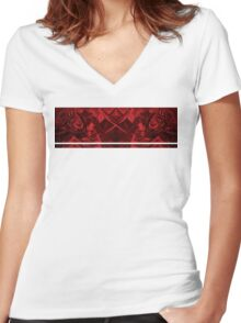 red stripe Women's Fitted V-Neck T-Shirt