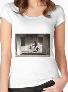 Passing-by cyclist Women's Fitted Scoop T-Shirt