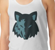 Crosshatch Wolf Emblem - Blue Tank Top