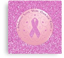 Breast Cancer Pink Ribbon Glitter Logo Canvas Print