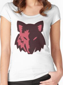 Crosshatch Wolf Emblem - Red Women's Fitted Scoop T-Shirt