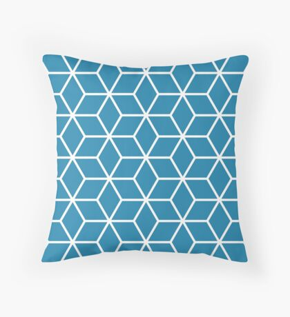 Blue Interlocked hexagon lattice Throw Pillow