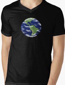 Pixel Earth Mens V-Neck T-Shirt